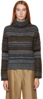 See by Chloe Grey Wool and Mohair Striped Turtleneck