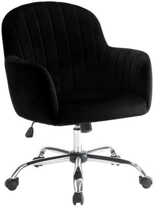 Furniture of America Tessa Comtemporary Velvet-Like Vertically Tufted Office Chair, Black