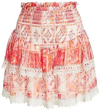 HEMANT AND NANDITA Costal Printed Ruffle Mini Skirt