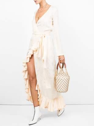 ATTICO satin jaquard dress white