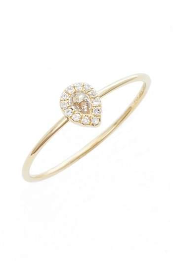 Ef Collection Teardrop Diamond & Topaz Stack Ring
