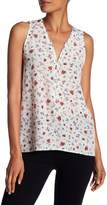 The Kooples Half Zip Floral Silk Tank