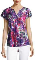 Liz Claiborne Short Flutter Sleeve Henley T-Shirt