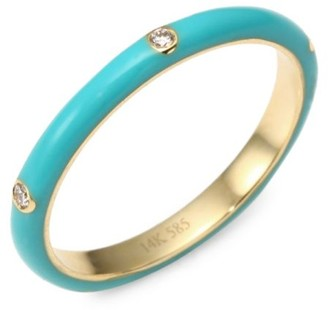 Ef Collection 14K Yellow Gold & Three Diamond Enamel Stack Ring