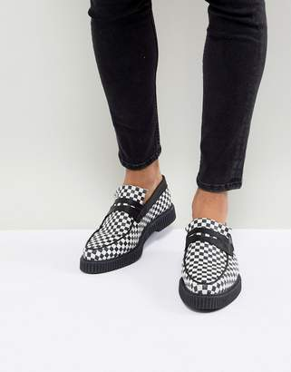 Asos Design Loafers In Black And White Checkerboard Print With Creeper Sole