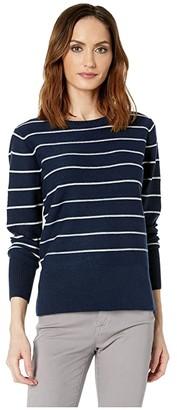 NYDJ Long Sleeve Crew Neck Sweater (Peacoat/Vanilla Stripe) Women's Clothing