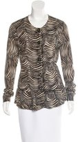 Tory Burch Merino Wool Abstract Print Cardigan