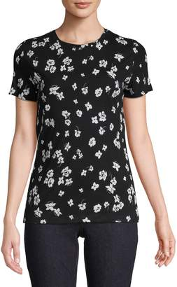 Lord & Taylor Cotton Stretch Floral Tee