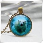 Flowers Bear Jewelry Arctic Ocean Animals Nature Art Pendant Polar Bear Necklace