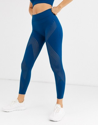 adidas warp knit high-rise tight-Blue