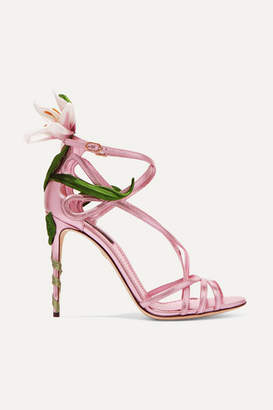 Dolce & Gabbana Floral-appliqued Metallic Leather Sandals - Pink