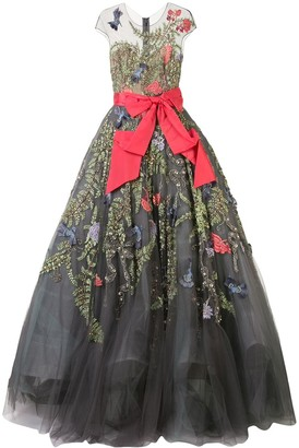 Marchesa Appliqued Ball Gown
