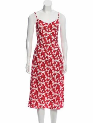 HVN Silk Strawberry Print Dress Red