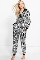 Boohoo Sarah Aztec Hooded Zip Up Fleece Onesie