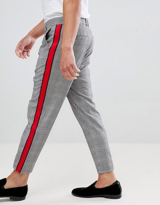 Bershka Check Trousers In Grey With Side Stripe