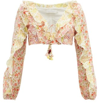 Zimmermann Goldie Ruffle-trimmed Cropped Linen Top - Womens - Pale Yellow