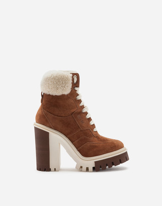 Dolce & Gabbana Split-Grain Leather Trekking Boots With Shearling