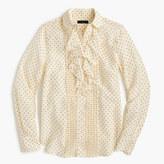 J.Crew Tuxedo ruffle top in polka-dot silk