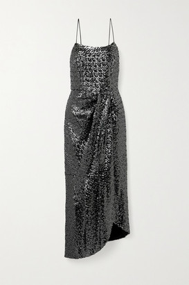 Derek Lam 10 Crosby Lexis Asymmetric Wrap-effect Sequined Mesh Dress - Anthracite