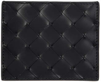 Bottega Veneta Black Intrecciato Spazzolato Card Holder