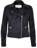 River Island Womens Navy faux suede biker jacket