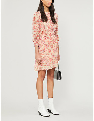 The Kooples Floral shirred waist chiffon mini dress