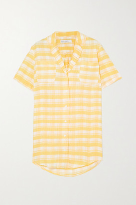Faithfull The Brand Caldera Checked Linen Mini Shirt Dress - Yellow