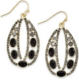 INC International Concepts Gold-Tone Jet Stone and Pavé Decorative Drop Earrings, Only at Macy's