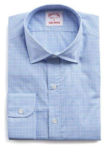 Hamilton Blue and White Check Poplin Shirt