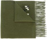 Moschino fringed camouflage logo scarf