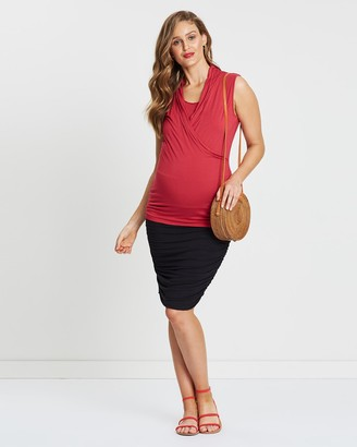 Angel Maternity Women's Red Maternity Singlets - Sleeveless Bamboo Top - Size One Size, XS at The Iconic