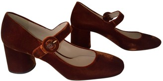 Prada Mary Jane Orange Velvet Heels