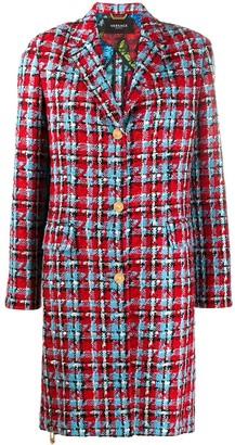 Versace Single-Breasted Tweed Coat