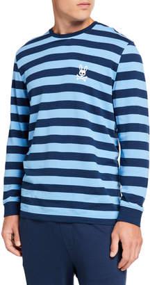 Psycho Bunny Men's Striped Cuffed Lounge T-Shirt