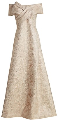 Teri Jon by Rickie Freeman Off-The-Shoulder Jacquard Bow Gown