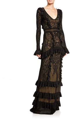 ZUHAIR MURAD Dragon Lace Knit Flare-Sleeve Gown
