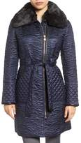 Via Spiga Faux Fur Collar Paisley Quilted Coat