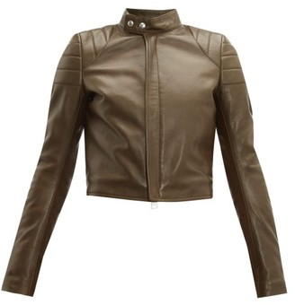 Bottega Veneta Cropped Leather Biker Jacket - Womens - Khaki