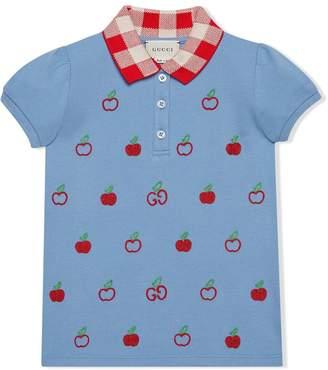 Gucci Kids GG apple embroidery cotton polo shirt