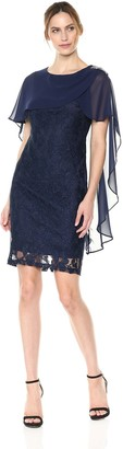 Sangria Women's Lace Dress with Capelet Overlay