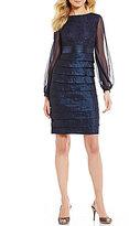 London Times Shimmer Layered Long Sleeve Dress