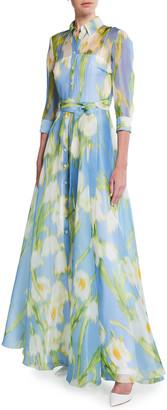 Carolina Herrera Floral Print Silk Shirtdress