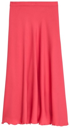 Theory Ruffle Stretch-Silk Midi Skirt