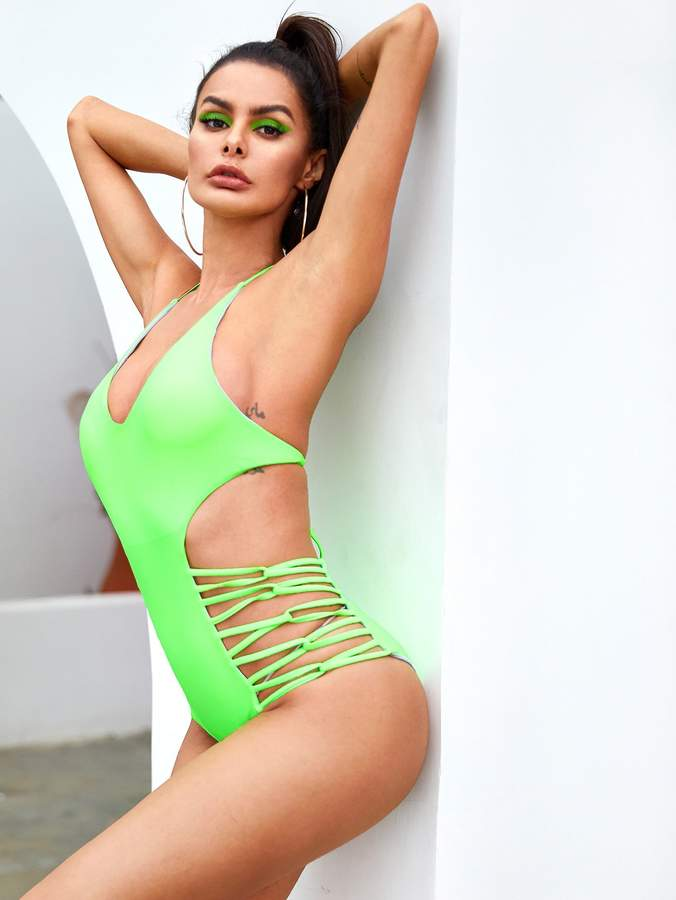 1460aef875 One Piece Cut Out Back Swimwear - ShopStyle