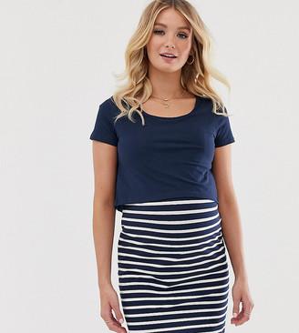 Mama Licious Mamalicious Maternity mini dress with nursing function in navy stripe
