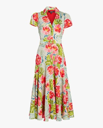 Badgley Mischka Cap-Sleeve Midi Dress