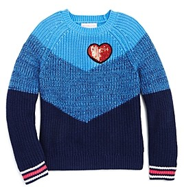 Design History Girls' Color-Block Heart Sweater - Little Kid