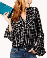 INC International Concepts Anna Sui Loves Plaid Ruffled Shirt, Created for Macy's