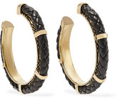 Noir Serpentine Gold-Tone And Leather Earrings