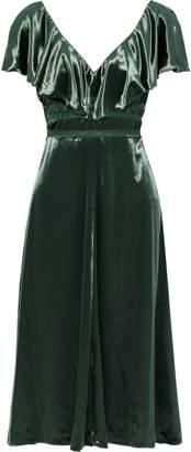Valentino Tie-back Ruffled Velvet Dress